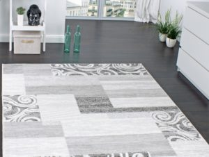 Design karpet wit zwart grijs